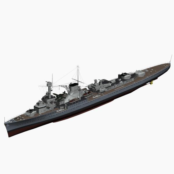 light cruiser leipzig ww2 german 3d model