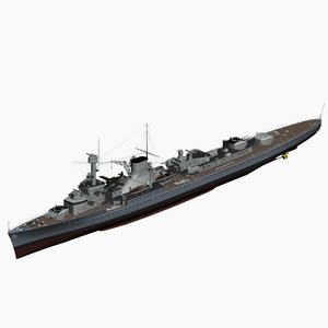 light cruiser leipzig ww2 german 3d model