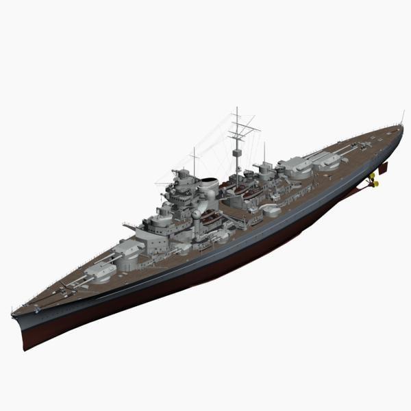 battleship bismarck ww2 german 3d max