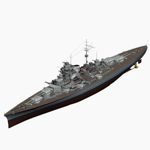 battleship bismarck ww2 german 3d max