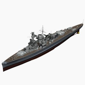 3d model pocket battleship scheer ww2 german