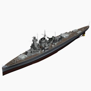 pocket battleship spee ww2 german 3d model