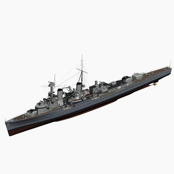 light cruiser karlsruhe ww2 german 3d model