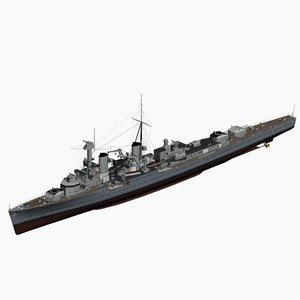 light cruiser karlsruhe ww2 german 3d model