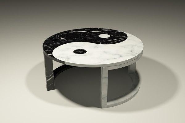 3d yin yang marble coffee table
