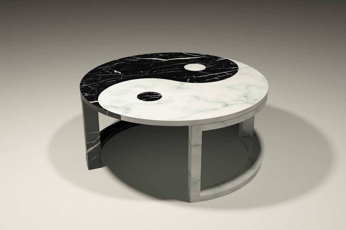 yin yang marble coffee table