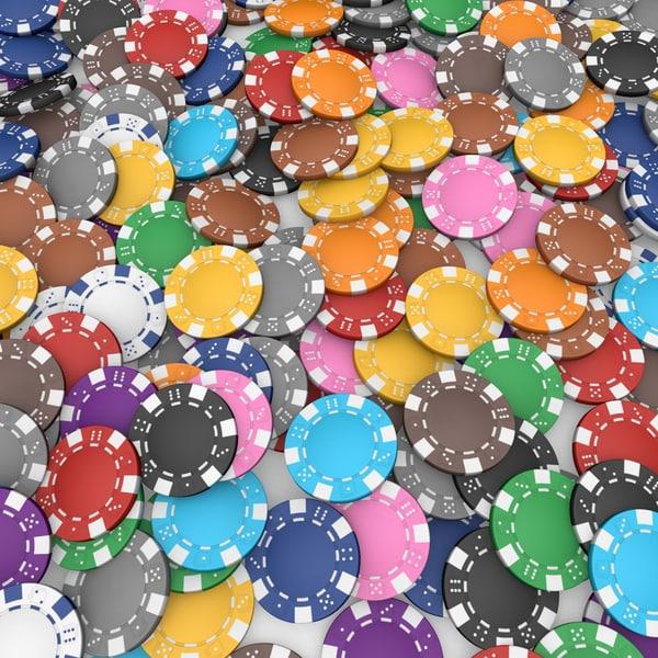 dice poker chips set 3d model