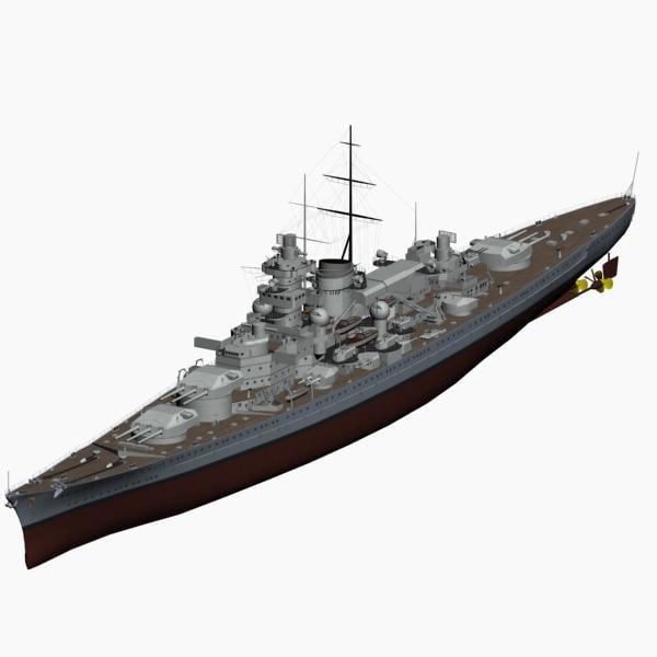 3d model battleship gneisenau ww2 german
