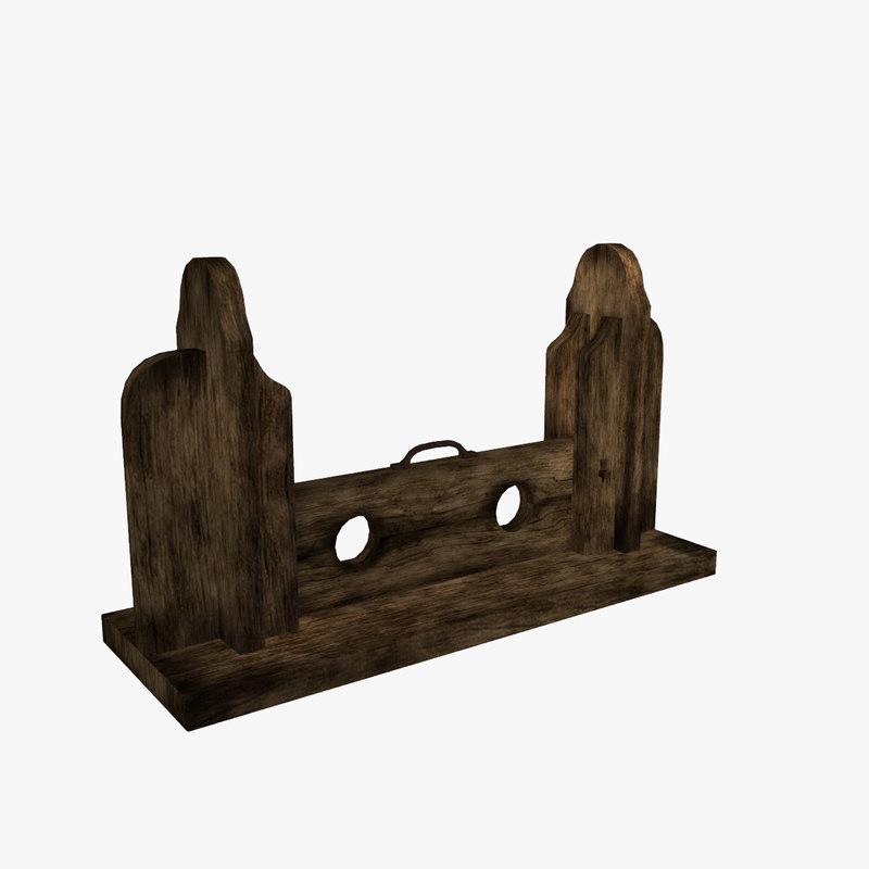 3d medieval foot stocks fantasy model