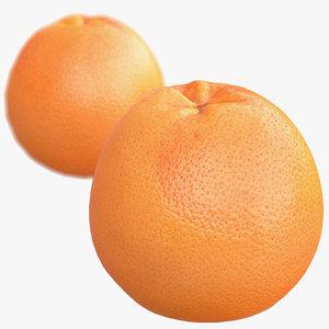 3d model of grapefruit scanned polys