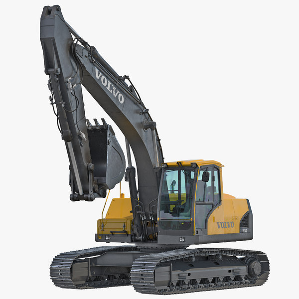 3dsmax tracked excavator ec144d rigged