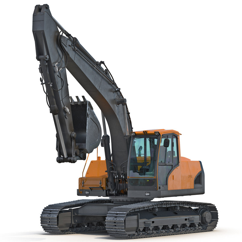 tracked excavator generic rigged 3d max