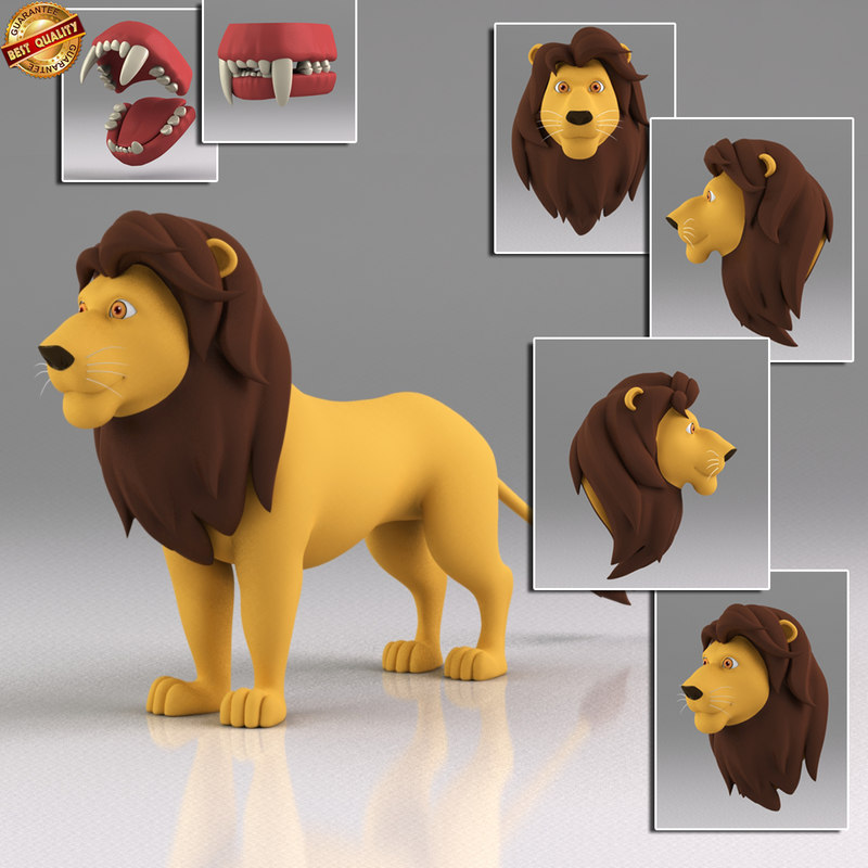 3ds max cartoon lion toon