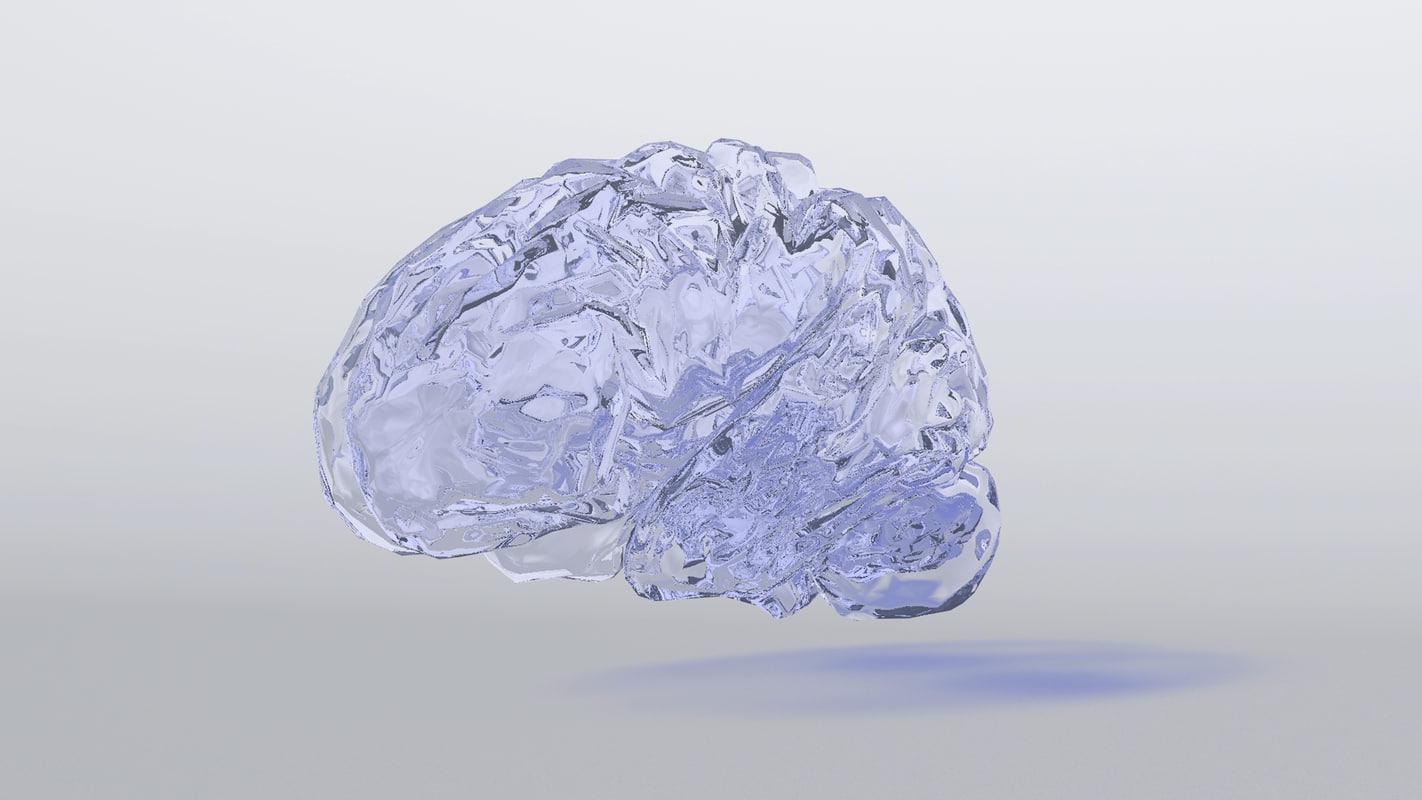 brain glass cool obj free