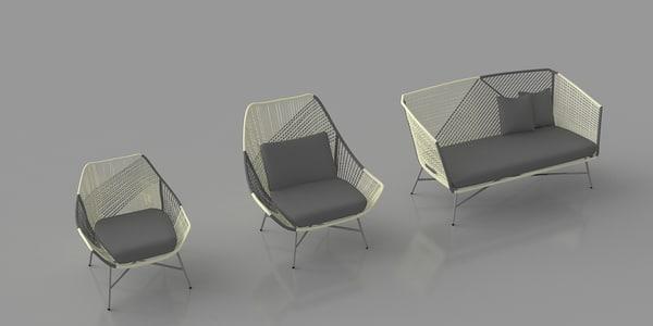 huron lounge chair sofa 3ds