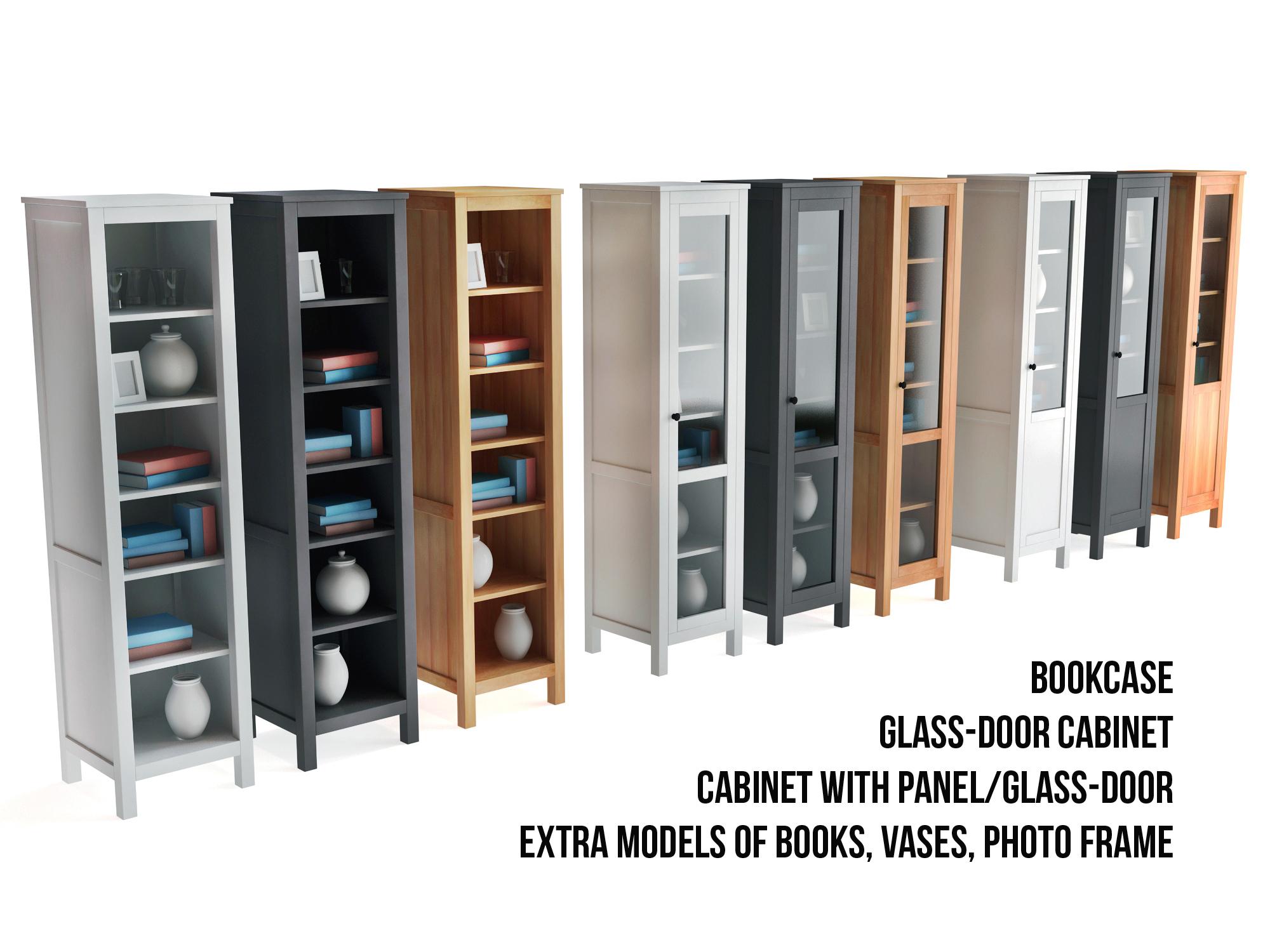 Ikea Hemnes Bookcase And Glass Door Cabinet