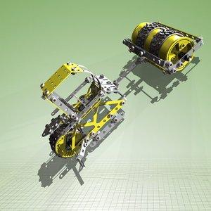 meccano road roller complete 3d obj