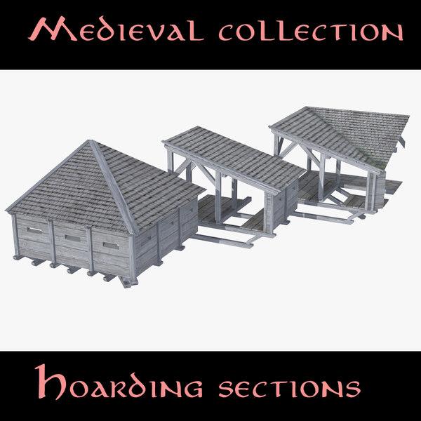 3d model castle hoarding sections