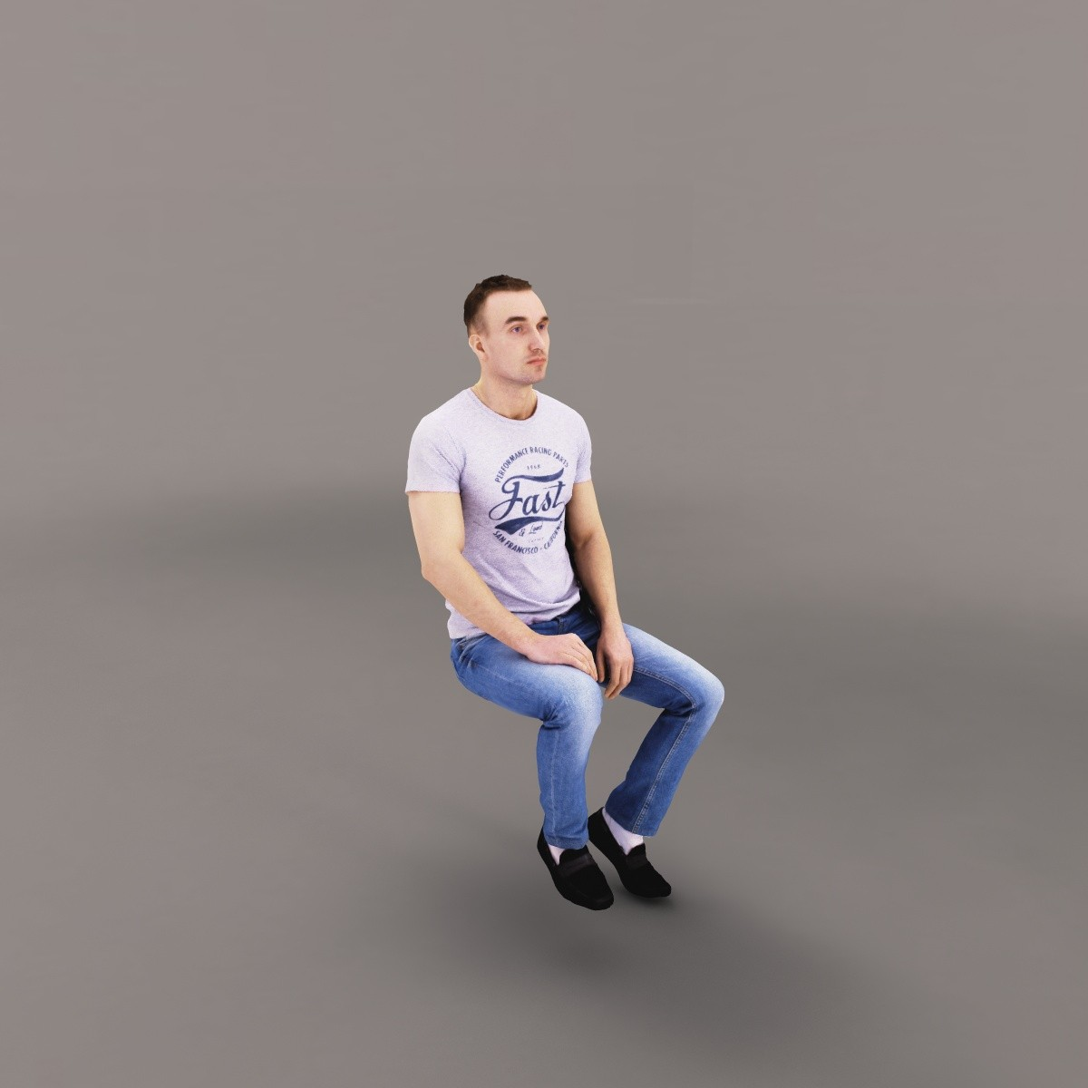 man sitting bus 3d max