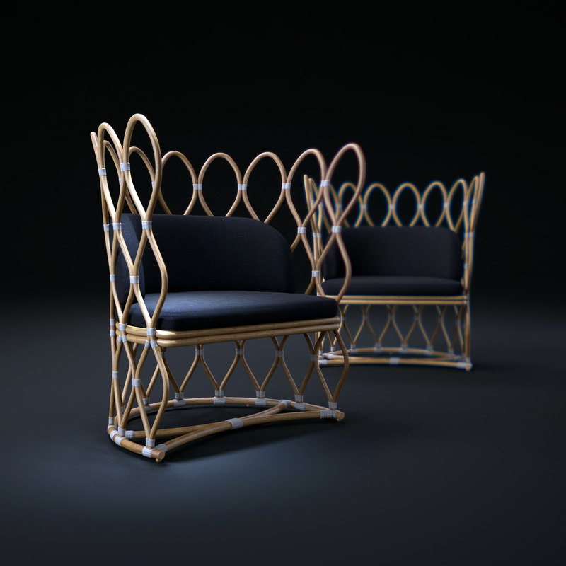 3d model petal-rattan-chair