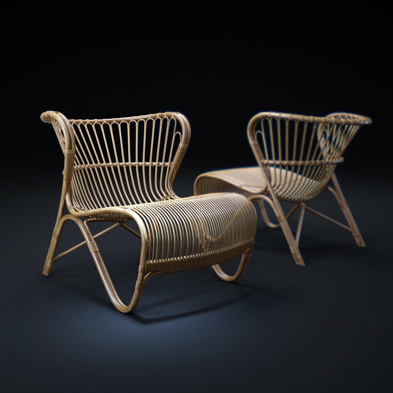 fox-rattan-lounge-chair 3d model