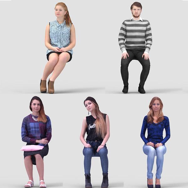 realistic casual humans 3d model