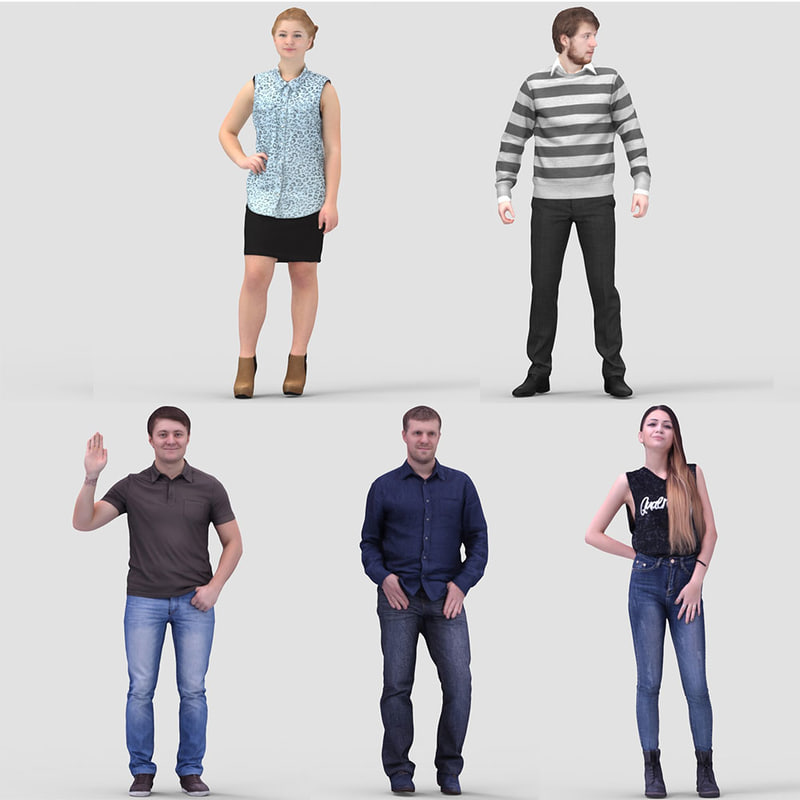 realistic casual humans 3ds