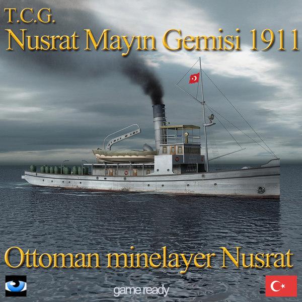 3d ottoman minelayer nusrat ship model
