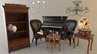 3d furniture set model