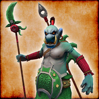 hand painted troll warrior character 3d fbx