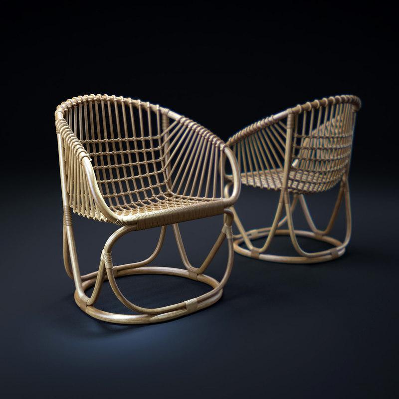 vintage-rattan-tub-chair 3d max