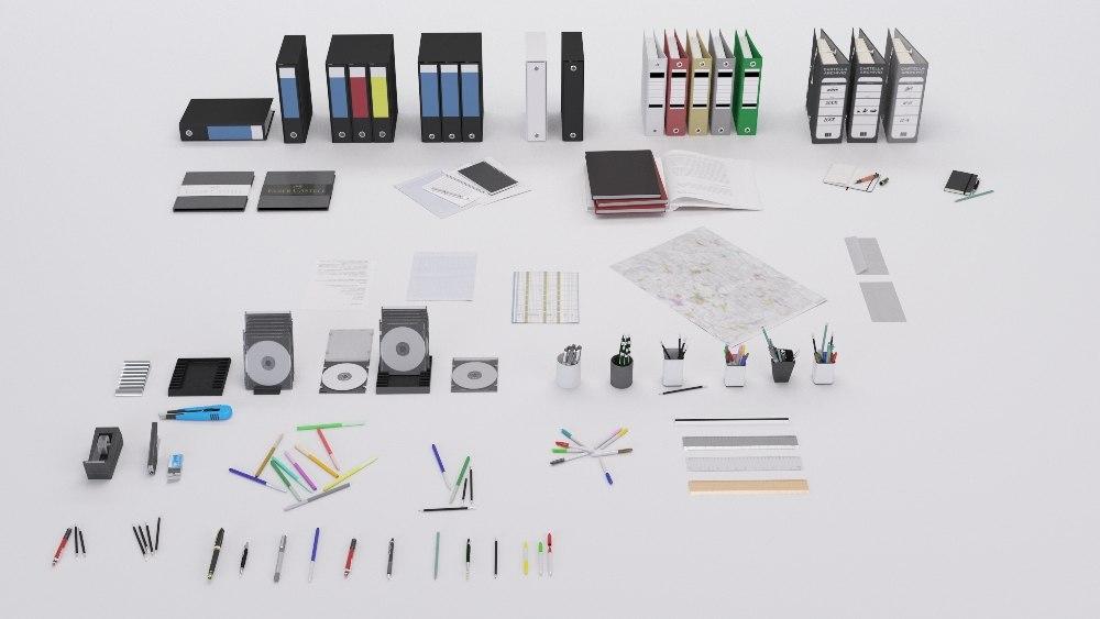 office equipment set 3d max