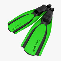 Swim Fins 2 Green 3D Model