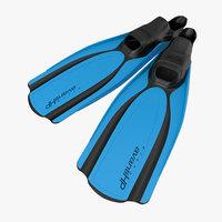 3d swim fins 2 blue