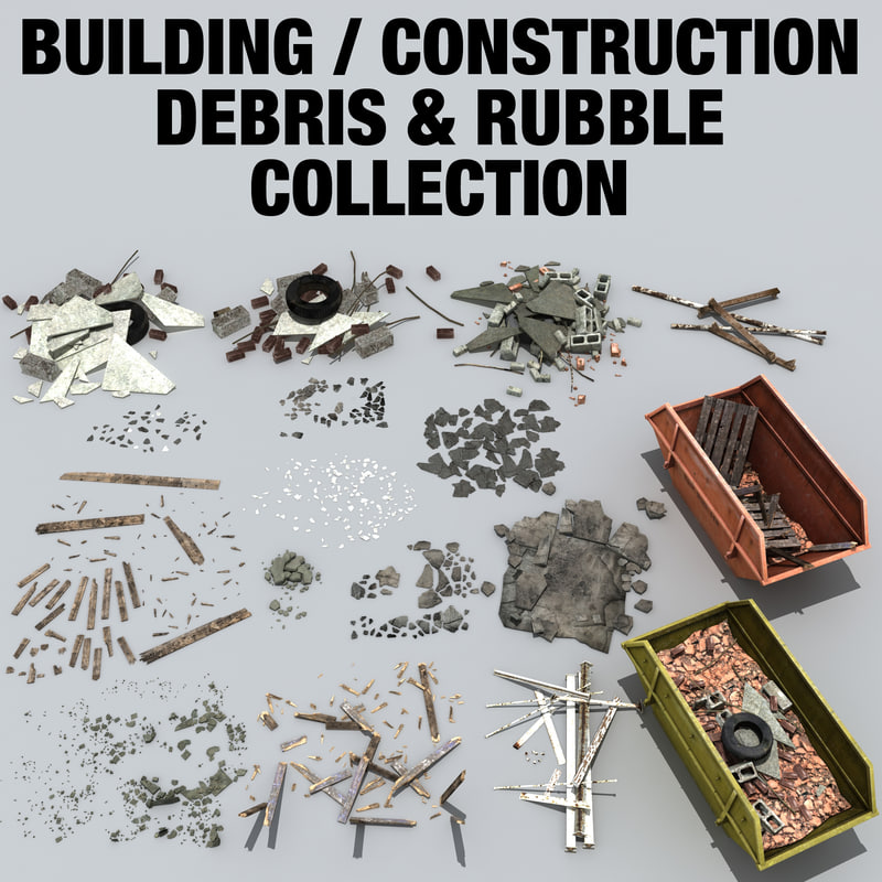 rubble debris construction 3d model