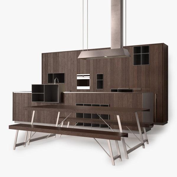 modern wood kitchen 3d max