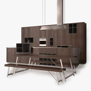 modern wood kitchen 3d max