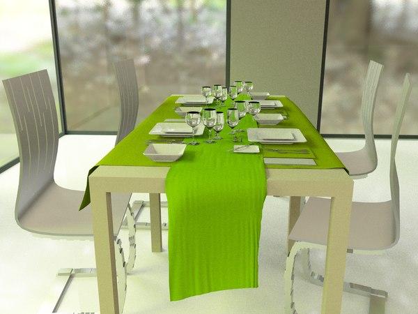 white green dinning room 3d model