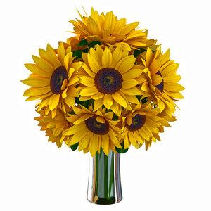 sunflower bouquet flower 3d model