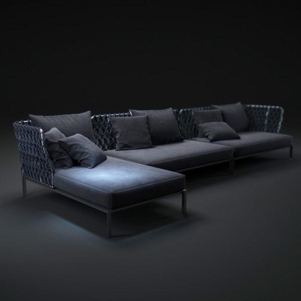 3d bb-italia-outdoor-ravel-sofa model
