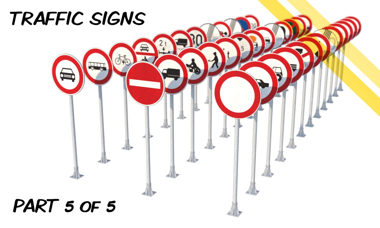 czech traffic road signs 3d model