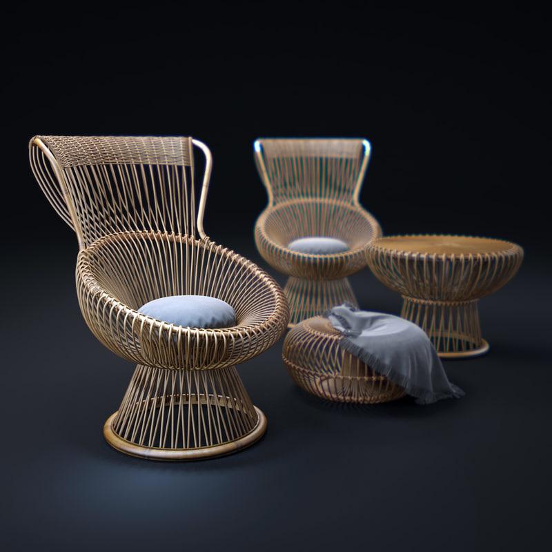 3d franco-albini-margherita-chairs