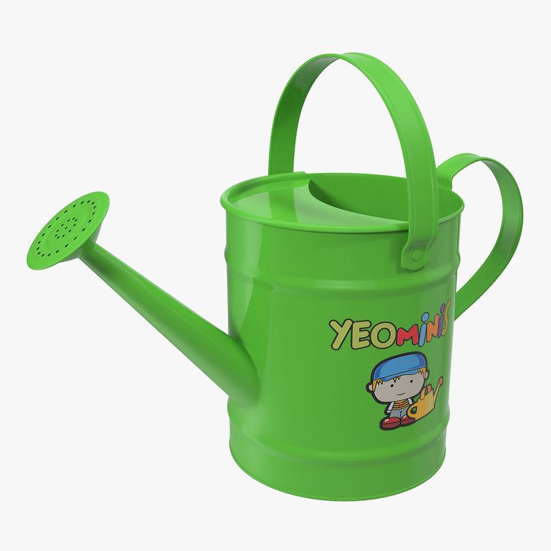 kids watering green 3d max