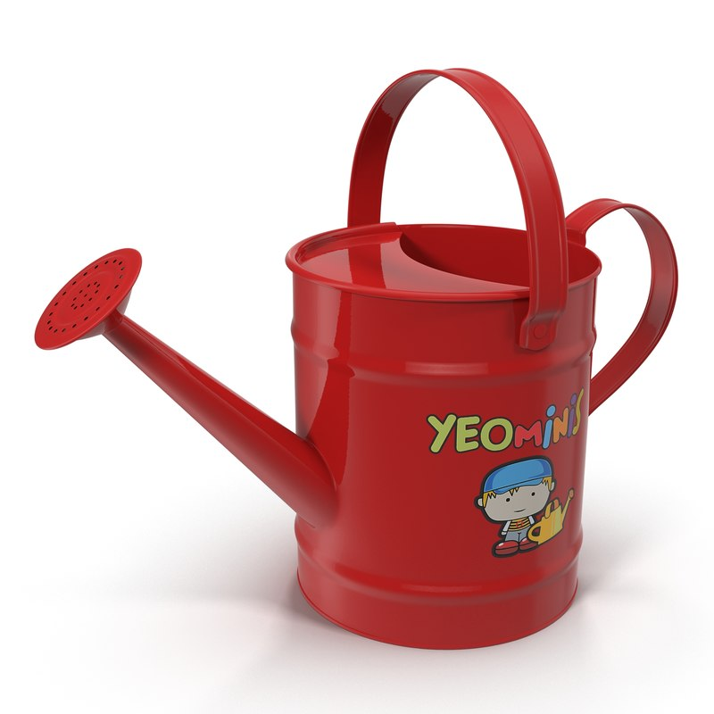 3d kids watering red model