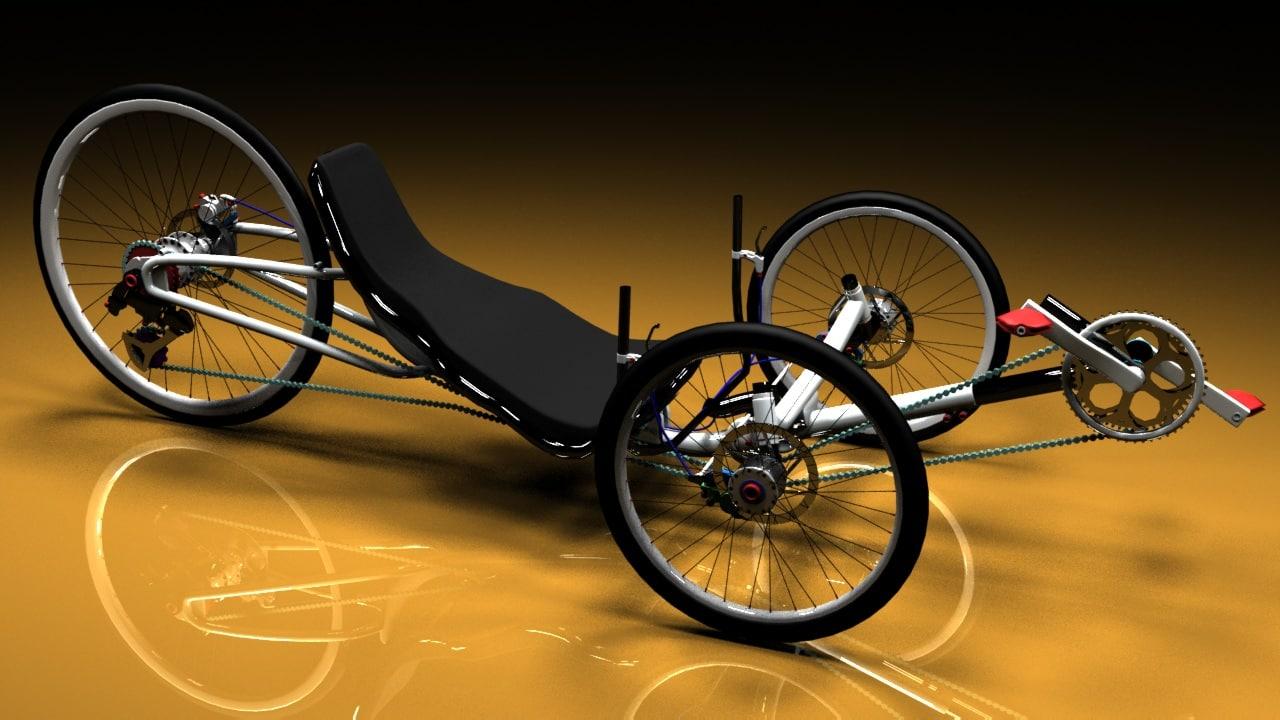 vortex recumbent bicycle 3d model