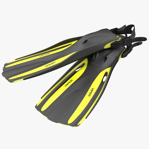 oceanic viper fins yellow 3d model