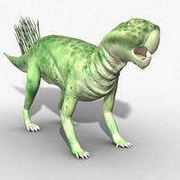3d model rigged psittacosaurus
