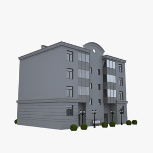 3d model building lamppost bushes