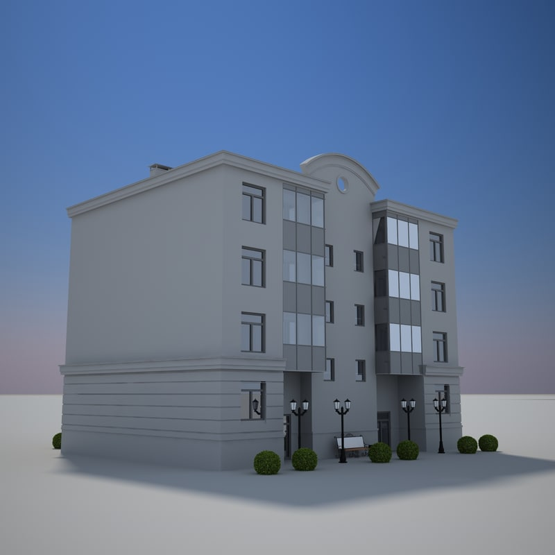 3d model building lamppost bushes