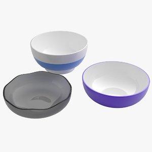 bowl set 3d obj